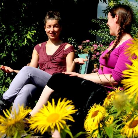 Women and sun flowers